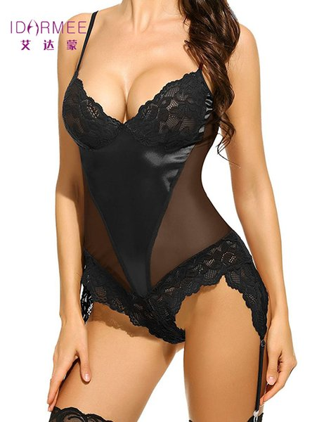 54a8adaaef89 Compre IDARMEE Brand S6500 Plus Size Lingerie Sexy Hot Erotic Lace  Babydolls Teddies Lingerie Garters Ropa Interior Para Mujeres Disfraces  Sexy ...