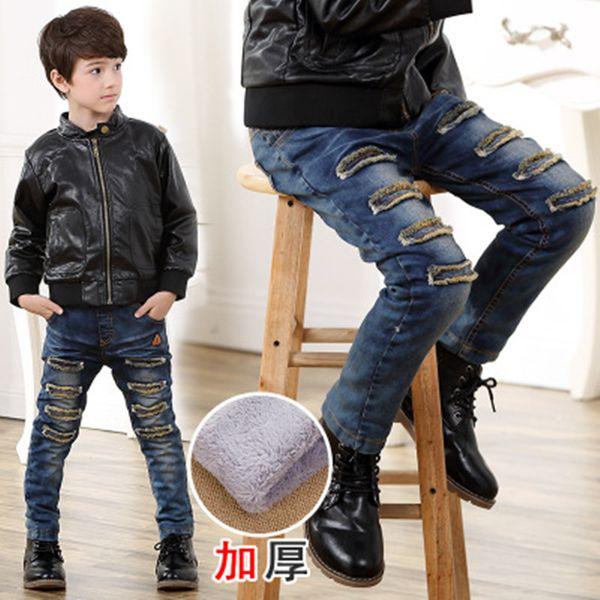 Children Jeans For Boys Winter Kids Clothes Boys Casual Trousers Denim Jeans 3 4 5 6 7 8 9 10 11 12 Years Boy Velvet Warm Pants