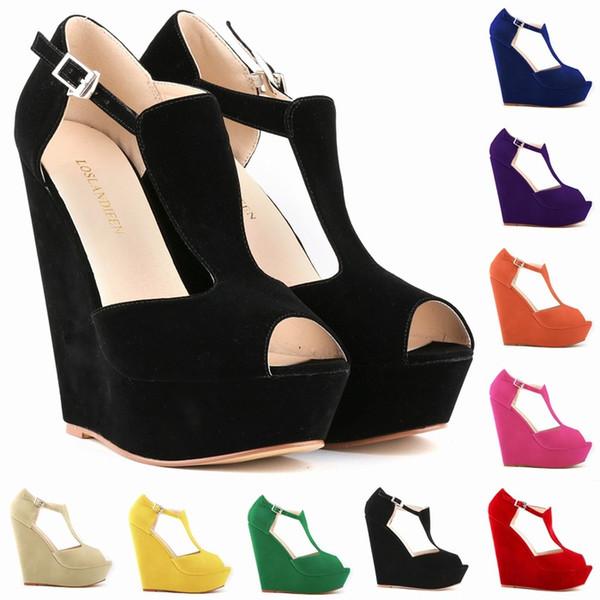 Moda Peep Toes Tacones altos Plataforma Sandalias de cuero de las mujeres con tachuelas Open Toe Zapatos de vestir Bombas Hebilla Correa de tacón alto F53