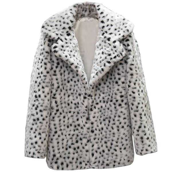 Faux Fur Coat Teddy Coat Winter Women Women Casual Warm Winter Top Ladies Leopard Print Pullover Jumper Outwear