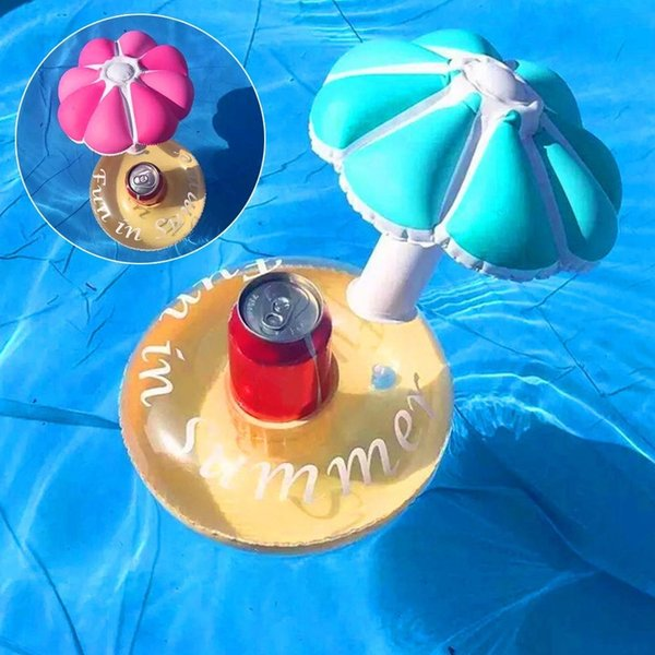 Pool Bath Beach PVC Inflatable Floating Umbrella Toy Beer Drink Cup Can Holder