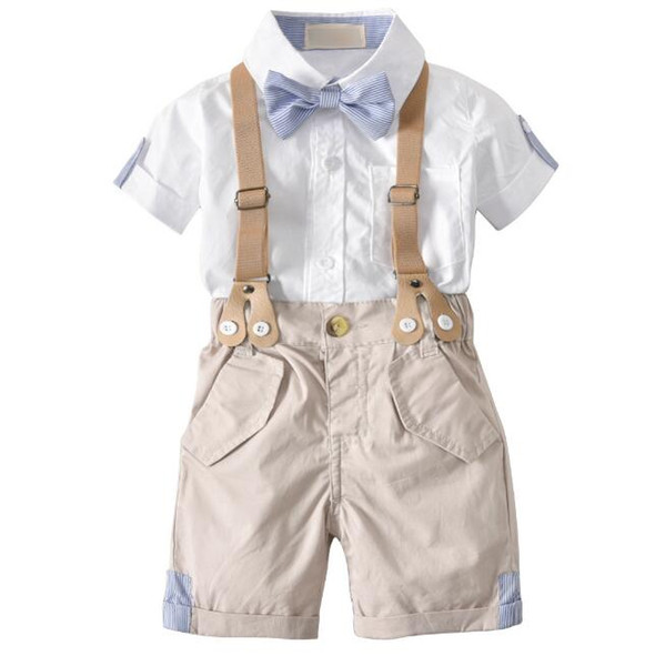 Summer cotton Korean children's suit Bow tie shorts short-sleeved shirt four sets Cotton White Suitable for 1-3 years old