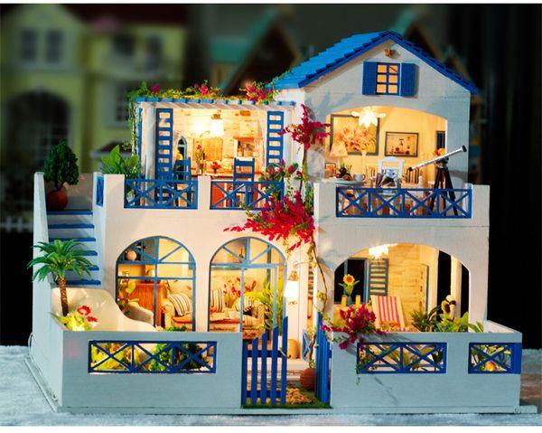 Meteoric Garden Romantic Love Large scale DIY Doll house 3D Miniature Light+Wood Handmade kits Building model Home Decoration