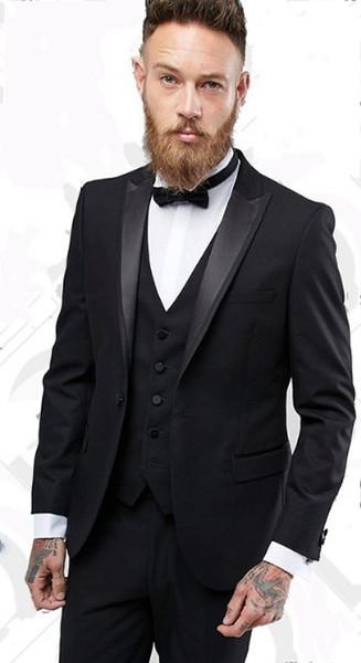 Hot Sale Slim Fit Side Vent Black Groom Tuxedos High Quality Man Wedding Suit Men Business Dinner Prom Blazer(Jacket+Pants+Tie+Vest) NO:354