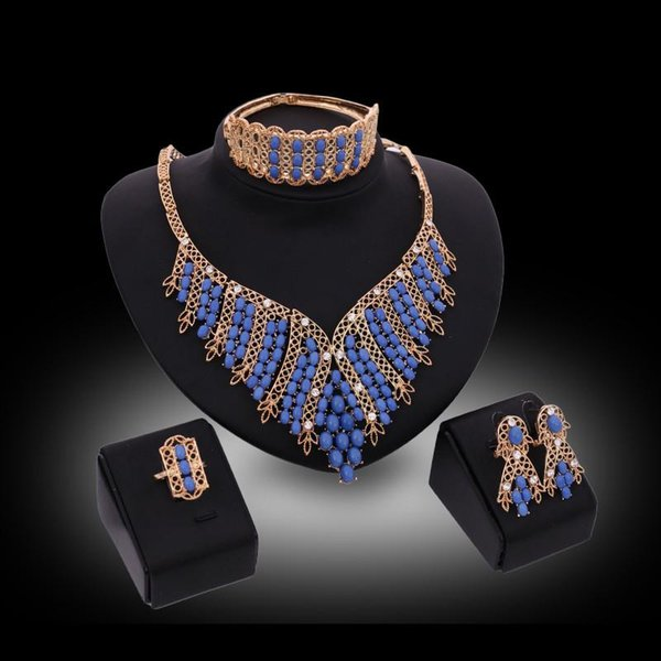 jewelry sets 2016 Luxury Royal Style Blue Beads Wedding Jewelry Sets 18K Gold Plated Party Jewelry 4-Piece Set Wholesale Drop Shipping JS080