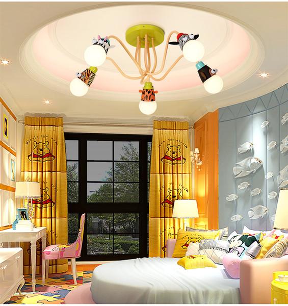 Novedad LED Bombilla blanca Luces de techo Animal de dibujos animados Mono Cebra Jirafa Niños Niños Dormitorio Lámparas de habitación Colgar Luz colgante