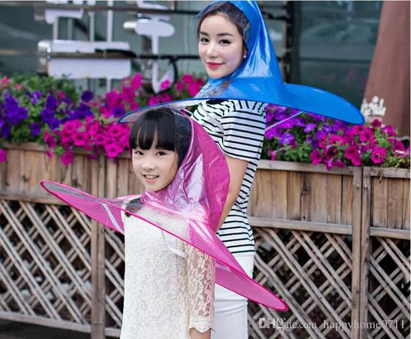 UFO Cap Transparent Umbrella Creative Personality Fishing Golf Rain Umbrella Cover Outdoor for Kids Children Students