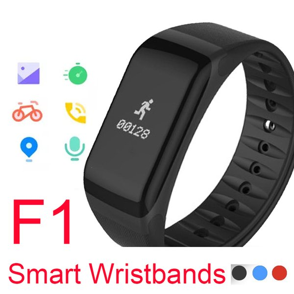F1 Smart Wristbands With Heart Rate Monitor Blood Pressure Function Wireless Fitness Sports Tracker smart watches for IOS and Android Phone