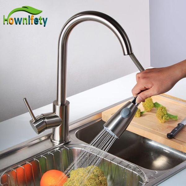 Nickel Brushed 360 giratorio Kitchen Sink Faucet Single Handle Pull Out Grifo giratorio del mezclador Interruptor de dos funciones Agua fría y caliente