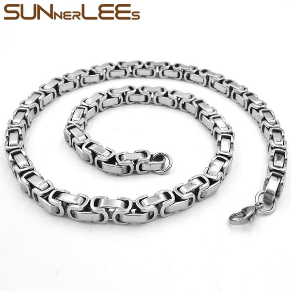 Fashion Jewelry 5mm 7mm Stainless Steel Necklace Silver Color Box Byzantine Link Chain For Mens Womens SC36 N