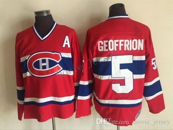 Montreal Canadiens Trikots # 5 BERNARD GEOFFRION Rot 1959 CCM Vintage Günstige Hockey Jersey