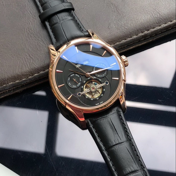 HOT Rose golD BACK glass Year, month automatic mechanical fashion AAA men watch wholesale luxury brand new Stainless steel Mens watches