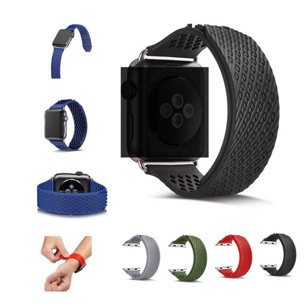 Fashion Creative For Apple Watch Band Soft Silicone Replacement Without Buckle Sport Strap for iWatch Series 1 / 2 / 3 Sport Edition 38/42