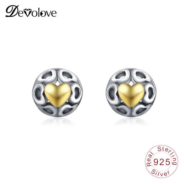 Devolove 925 Sterling Silver Love Heart Stud Pendientes para Mujer Pendientes de Boda Joyería de San Valentín Regalo Brincos PSER0040-B