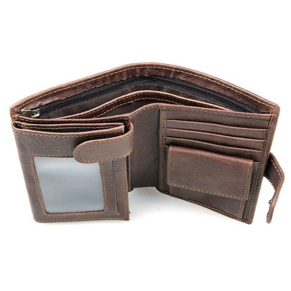 Vintage First Layer Of Real Leather Men's High-Capacity Multi-Card Bit Short Wallet Retro Clutch Men Genuine Leather Purses