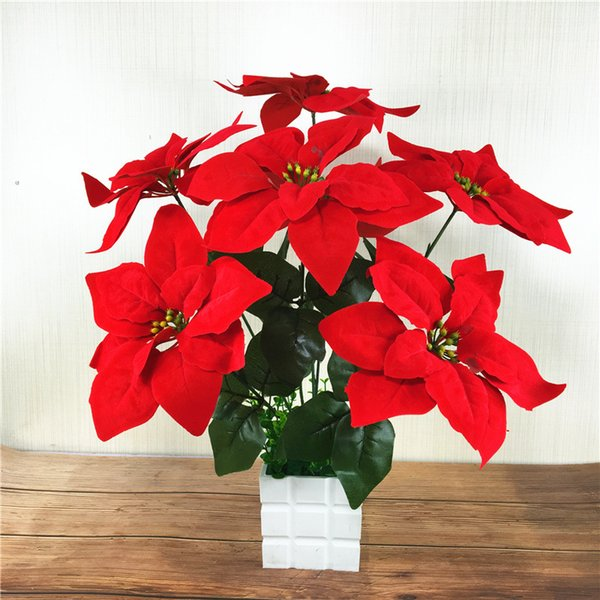 Artificial Christmas Flowers.2019 Real Touch Flannel Artificial Christmas Flowers Red Poinsettia Bushes Bouquets Xmas Tree Ornaments Centerpiece Home Hotel Office Decor From