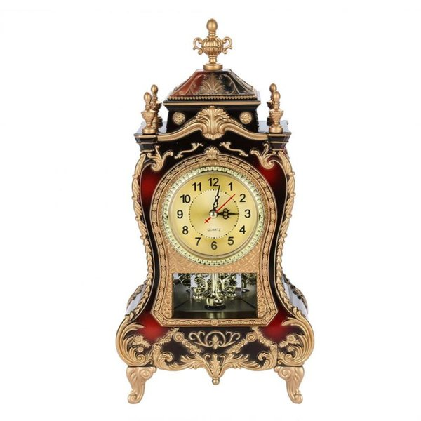 Vintage Style Plastic Table Clock Antique Home Hotel Decorative Desk Alarm Clocks(Brownish Red)