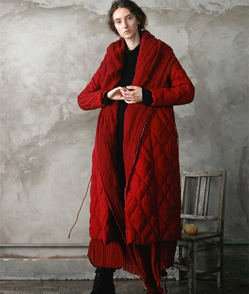 Jessica's Store Diseño original para mujer Novedad Personalidad Grueso Lino cálido Patchwork Rojo Largo 90% Abrigo de pato blanco abajo