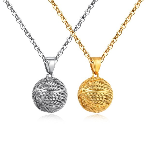 Silver Gold Color Fashion Men's Basketball Pendant Necklace Stainless Steel Link Chain Necklace Jewelry Gift for Men Boys 1440