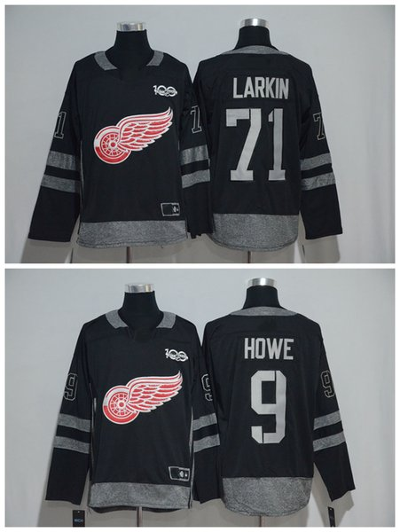 1917-2017 100th Anniversary Detroit Red Wings Jersey #9 Gordie Howe #71 Dylan Larkin Black Stitched Hockey Jersey Top Quality !