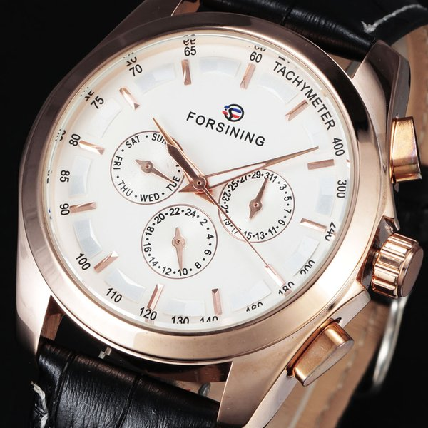 FORSINING Brand Automatic Mechanical Formal Clock Tachymeter Auto Date Dial Rose Gold Watch Leather Men Dress Wrist Watches Gift
