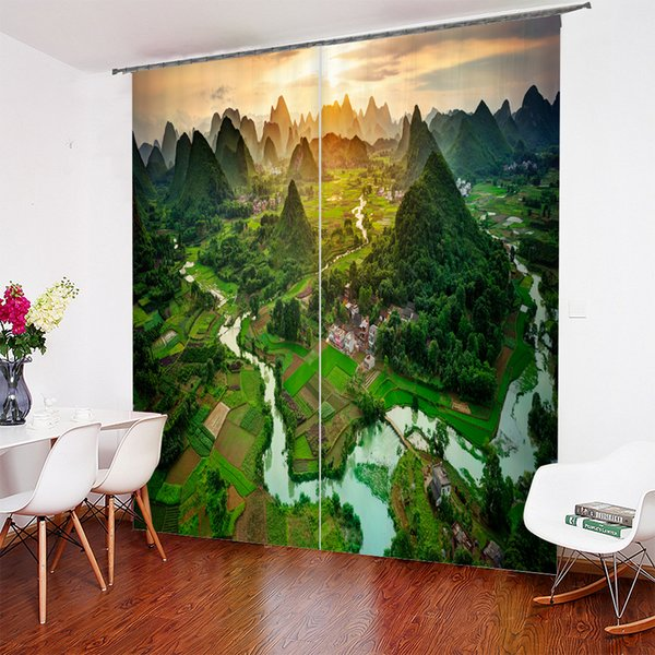 3D Guilin Landscape Scenery Design window Curtain home decor Personalized Curtain 52*84 Inch,80*84 Inch, 104*84 Inch, 118*106inch