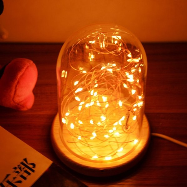 LED Night Light Copper Wire Lights USB Charging Firework Glass Table Lamp new