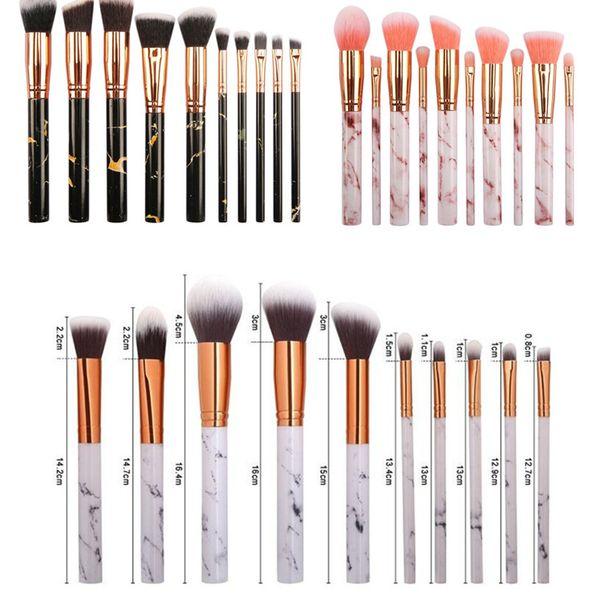 10pcs/set Marble Makeup Brushes 3 Colors Blush Eyeshadow Face Powder Make Up Brush Set las brochas de maquillaje Maquiagem
