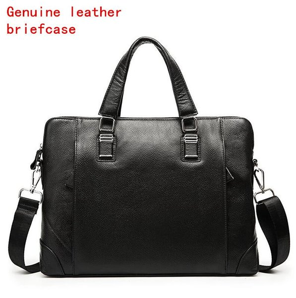 Factory own brand men bag soft leather mens portable shoulder bag fashion first layer leather business briefcase glossy leather casual handb