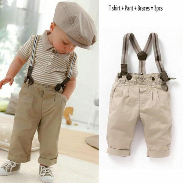 Anlencool Baby Boy Toddler Clothes Casual Formal Gentleman Strips Tops + Pants + Tirantes 3 Unids Outfit Set 0-3Y Hot ropa de bebé conjuntos