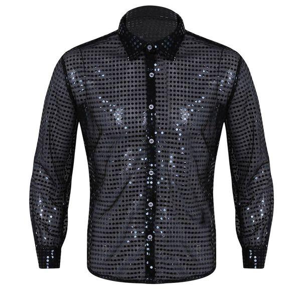 Männer Durchsichtig Pailletten Latin Shirt Langarm Ballsaal Kleid Kleidung 2018 Tango Rumba Top Mens Shirts Dance Performance Kostüm