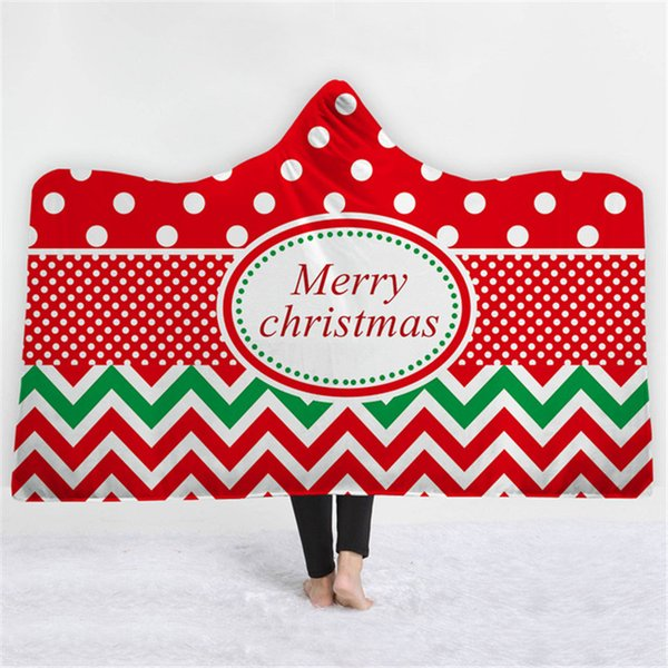 Hot Sale Christmas Wave Point Gear Tuan 3D Printed Plush Hooded Blanket for Adults Kid Warm Wearable Fleece Throw Blankets