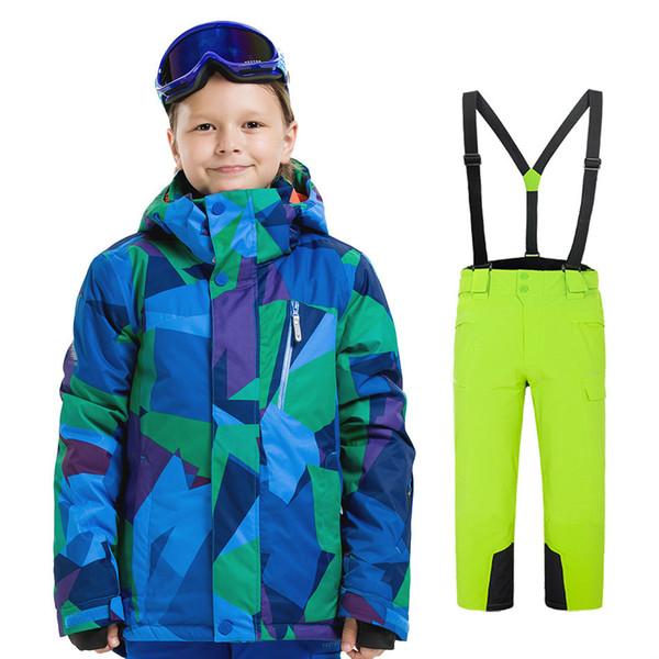 Traje de esquí de niños y niñas al aire libre a prueba de viento a prueba de agua traje de esquí de impresión térmica de camuflaje