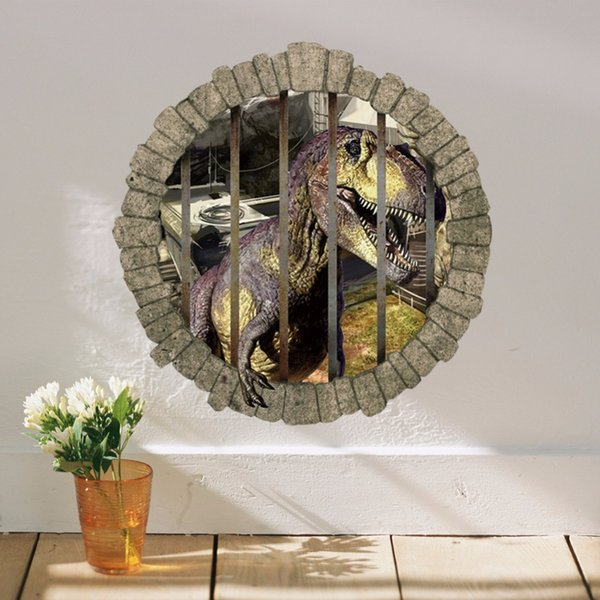 % World Park Dinosaurs Wall Stickers for Kids Rooms Boy room Decoration 3d window effect Wall Decals Poster paper mural