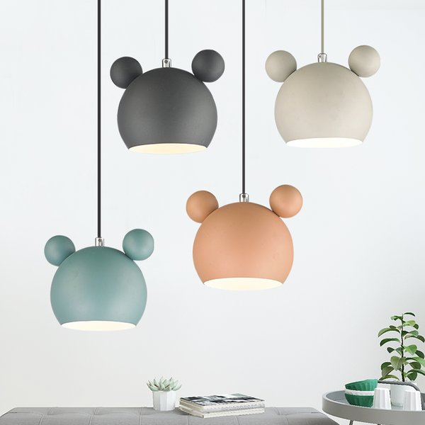 Cute Mickey Iron pendant lights lamps E27 LED Cheap kid's room child metal hanging light dining room loft cafe nordic suspended lamp