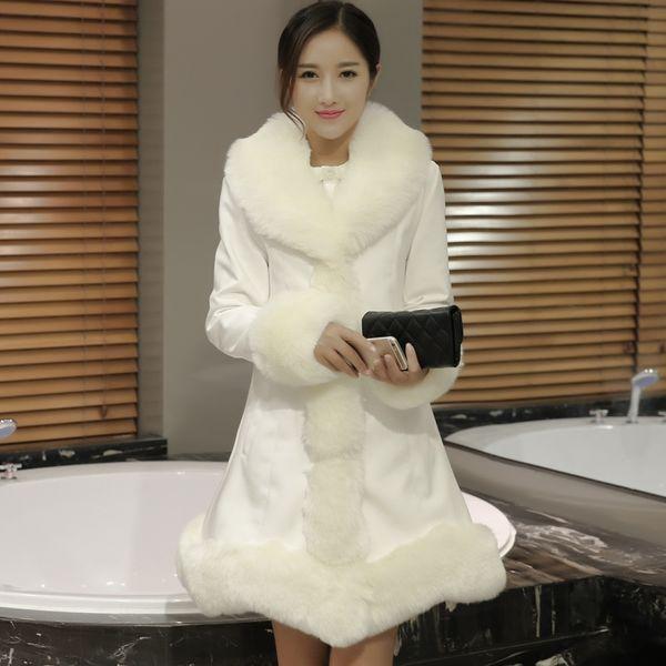 New Fashion Leather Clothing Cotton Female Fox Fur Collar Long Slim Stitching Jacket Winter Large Size Women Jacket S M L XL 2XL 3XL 4XL S