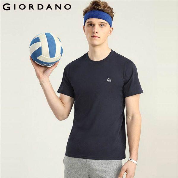 Giordano Homens Camisa Seca rápida T Crewneck Verão Camiseta Homme Respirável Manga Curta Tops Masculinos Qualidade Mens Vestuário