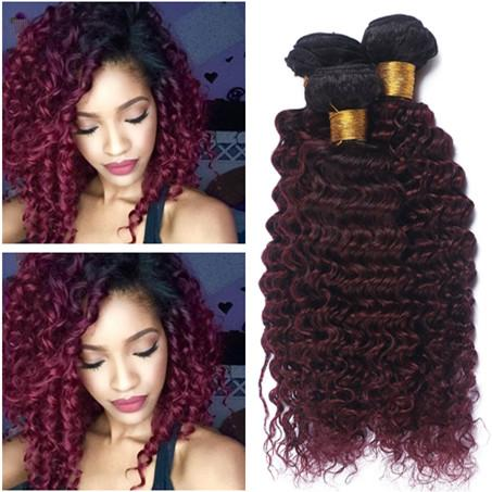 Black and Burgundy Ombre Virgin Peruvian Human Hair Bundles Deep Wave Wavy 3Pcs #1B/99J Wine Red Ombre Human Hair Weaves Extensions