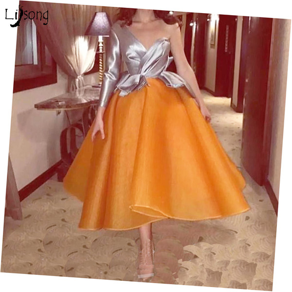 Two-toned Women Party Wear Prom Ball Gowns Midi Length Puffy Petticoat Prom Party Vestido de Festa Color Select One Shoulder Mid Dresses