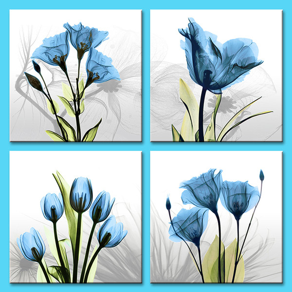 4 Pieces Canvas Painting Wall Art Innovative Blue Tulip Background Picture Print on Canvas Landscape Stretched and Framed Home Decor