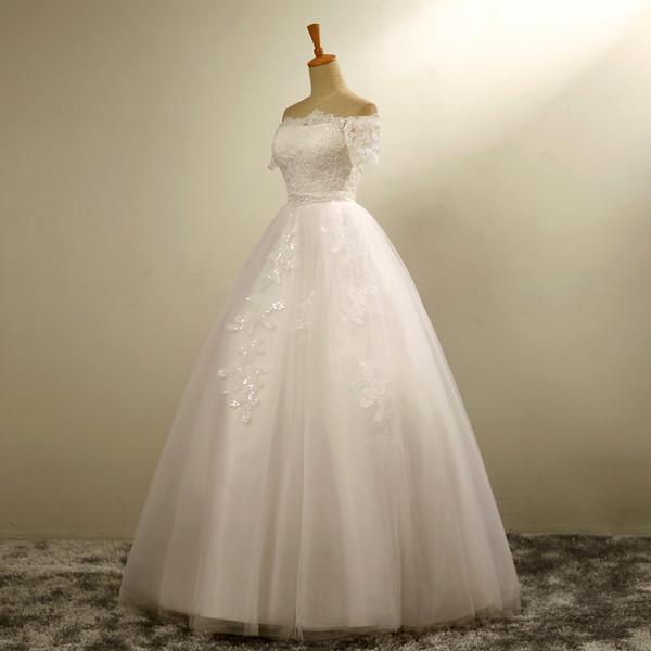 White/Ivory Off Shoulder Short Sleeve With Sash Wedding Dress With Bow Bridal Gown Custom Made Plus Size lace Up Back Wedding party Occasion
