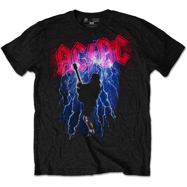 ACDC громом Ангус молодой рок offiziell образом футболка Herren печатных футболка чистый хлопок мужчины топ тройник