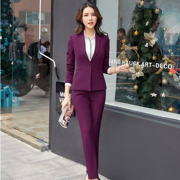 Uniform Designs Pantsuits With Jackets And Pants For Ladies Office Business Work Wear Women Blazers Sets Office Maroon Red