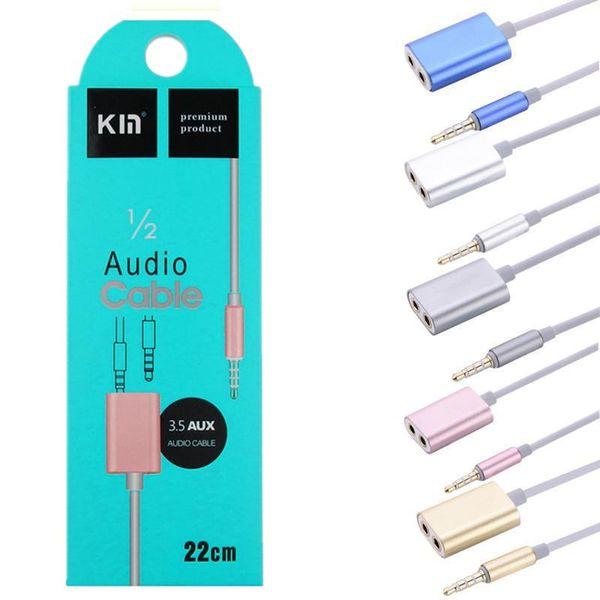 Ses Kablosu Splitter 1 Erkek 2 Kadın Ses kulaklık Splitter Adaptörü için 3.5mm Çift Jack Splitter Kablo iPod iPhone 7 6 5 Mp3 Mp4 Pc