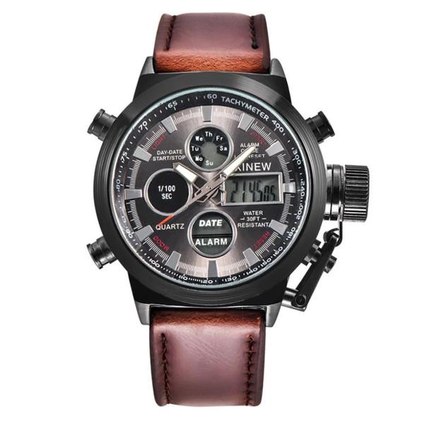 XINEW Men Watch Sport Army LED Watches Stainless Steel Watches Men Clock Horloges Mannen Wristwatch Mens Quartz-watch