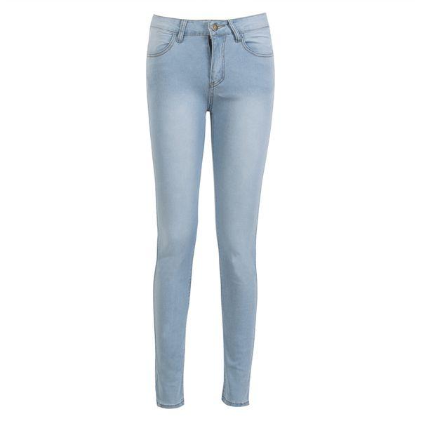 Moda nuove donne signore vita alta blu jeans aderenti jeans stretch denim