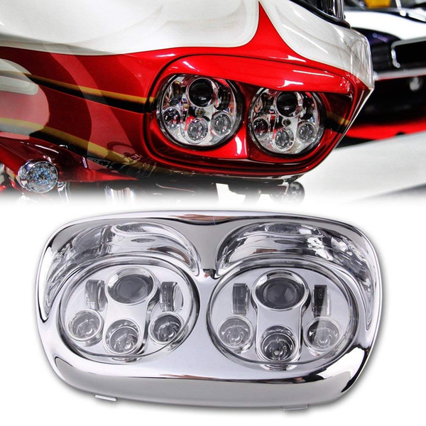 1 Set 90w Dual LED Daymaker Projector Headlight Bulb Assembly High Low Beam for Harley Road Glide