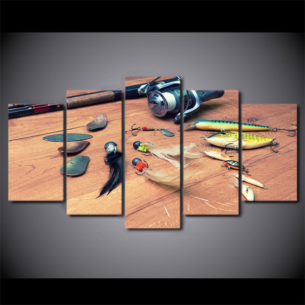 HD Printed 5 Piece Canvas Art Fishing Hook Painting Wall Pictures for Living Room Home Decor Poster Free Shipping CU-2545B