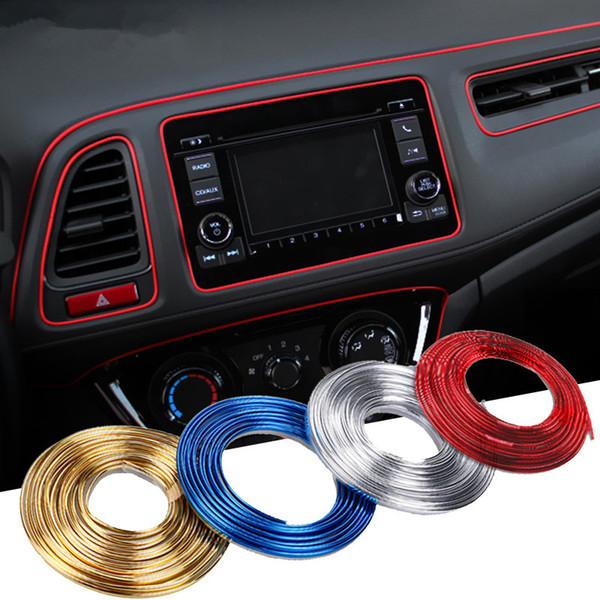 Furniture Stickers Wall Decals & Stickers 5M Car Styling Red Strips Trim Decals Interior Door Sticker Moulding Line Decor