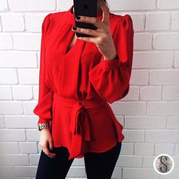 Women's fashion casual red shirt V-neck halter lace hollow out dress small round neck button design